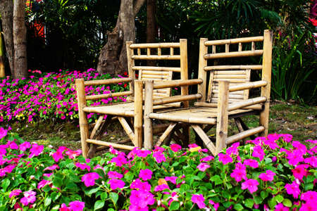 Chair made from bamboo in garden  photo