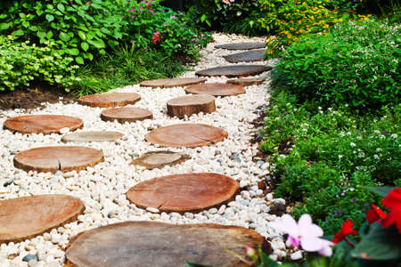 Stone walkway winding in garden