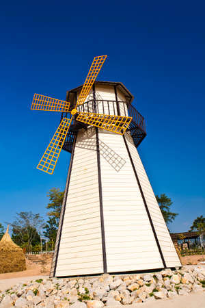 Beautiful windmill landscape with blue sky  photo