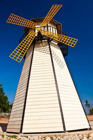 Beautiful windmill landscape with blue sky  photo