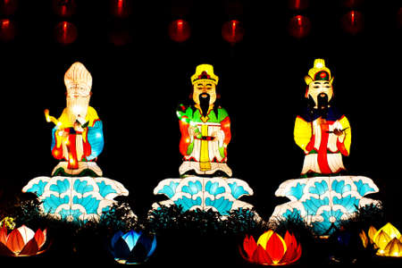 Colorful lanterns of Fu Lu Shou in night time.Three Chinese lucky gods. photo