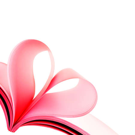 Creative heart from white pages book on white background Stock Photo - 13007419