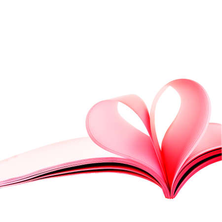 Creative heart from white pages book on white background
