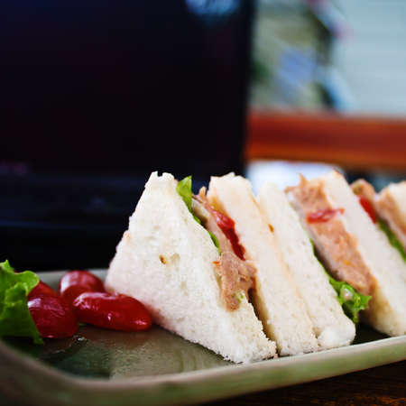 sandwich and laptop in relax time photo
