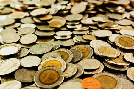 Coins background (Depth of field) photo