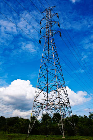 high voltage post.High-voltage tower blue sky background. photo