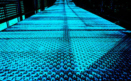 Light blue walk way of the metal  photo