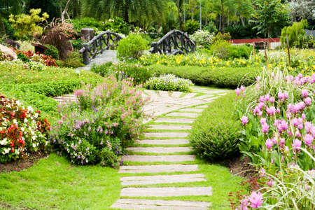 garden landscaping: Landscaping in the garden. The path in the garden. Stock Photo