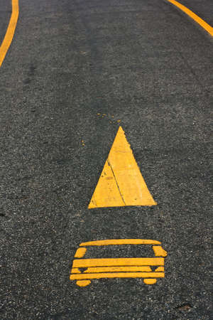 Road lanes with arrow markings photo