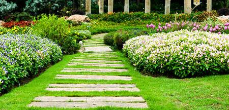 Landscaping in the garden  The path in the garden  Standard-Bild