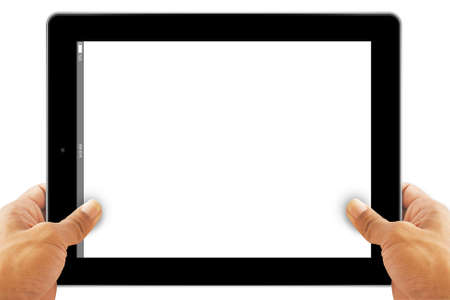 blank tablet: Hands with tablet computer. Isolated on white background.
