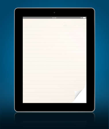 blank lined curl page tablet computer with reflect photo