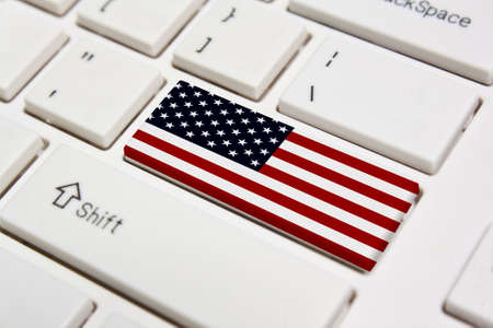 Computer keyboard with the US flag on it photo