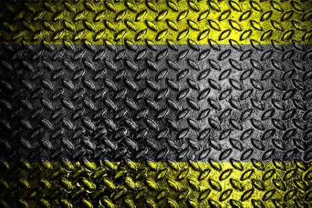 Grunge iron plate with warning stripe  Stock Photo