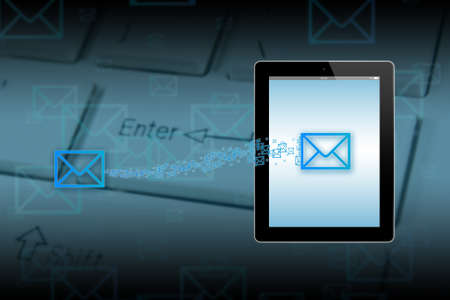 Mail icon send to touch-screen illustration tablet-pc on keyboard background  illustration