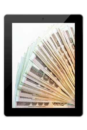 Tablet pc with bank note isolated on white bakground photo