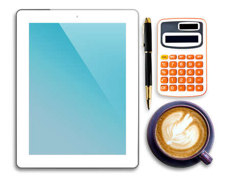 Tablet,pen,calculator and cup of coffee isolated on white background photo