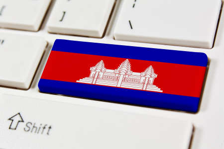 southeastern: Association of Southeast Asian Nations Flag on keyboard button Canbodia Stock Photo