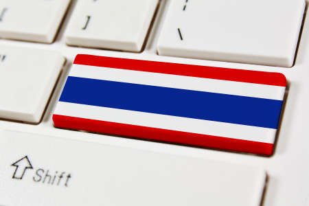 Association of Southeast Asian Nations Flag on keyboard button Thailand Stock Photo