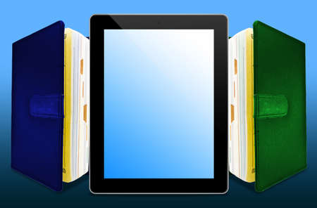 Stack Books and tablet photo