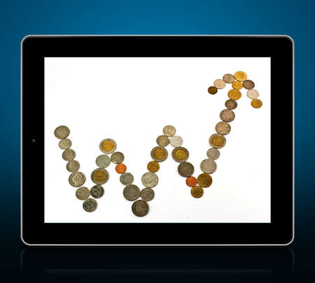 touch screen tablet and shows tablet With graph Stock Photo - 15381435