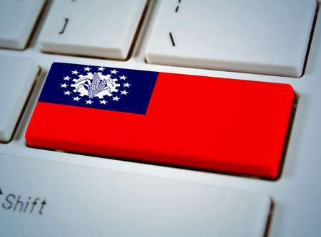 Association of Southeast Asian Nations Flag on keyboard button.Myanma photo