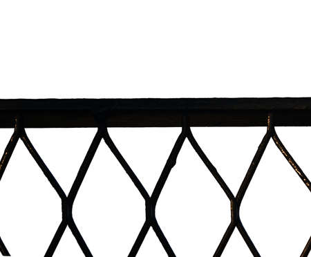 chain fence: Iron chain fence on the white background Stock Photo