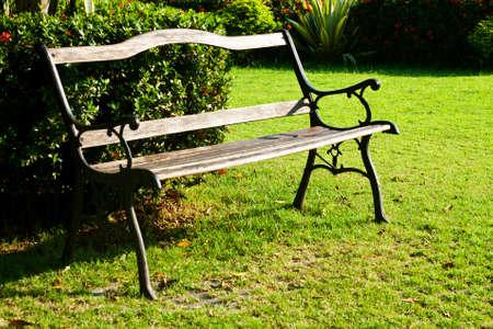 Vintage wooden bench in the garden photo