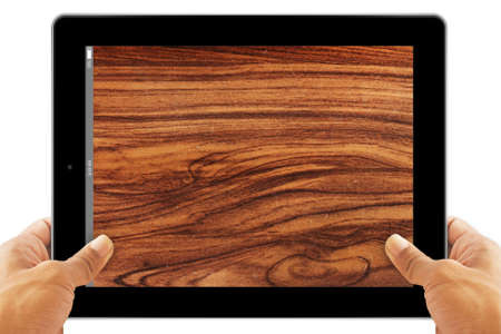 Tablet Computer wood background Stock Photo - 16296652