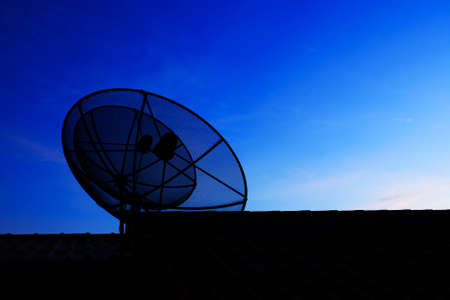 silhouette Satellite Dish and Antenna TV on Sunset Time Stock Photo - 16683655