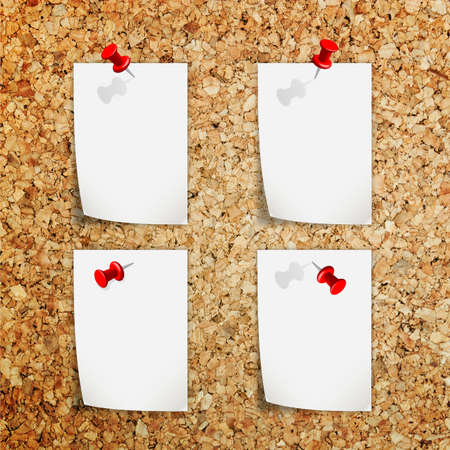 Push pin and White paper sheet on cork board texture Stock Photo - 16683678