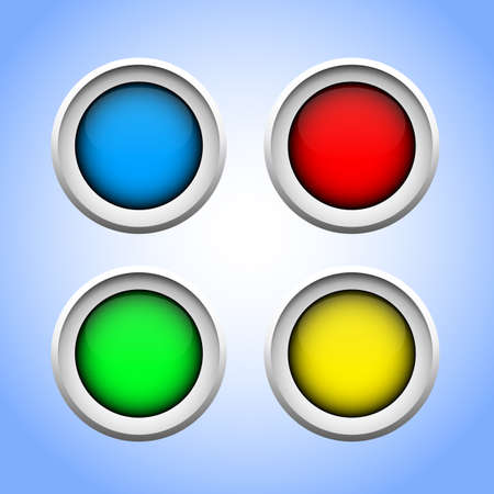 Set of round buttons with glossy effect for web using. Vector