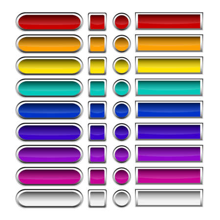 Set of vector buttons with metallic borders Vector