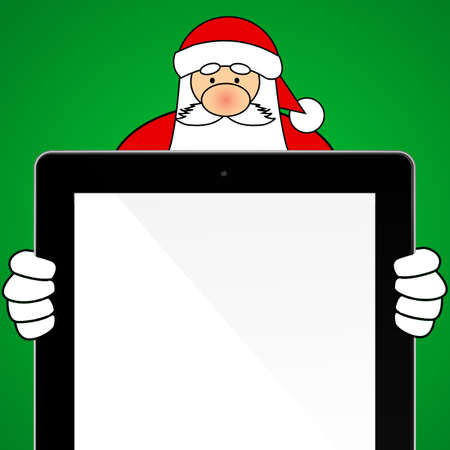 Santa Claus Holding a Tablet Computer  green background photo
