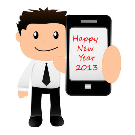 funny cartoon office worker holding tablet with happy new year background Vector