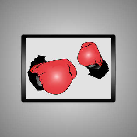 Businessman hand wearing boxing gloves on a laptop screen Stock Vector - 17690400
