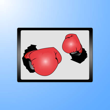 Businessman hand wearing boxing gloves on a laptop screen Stock Vector - 17690397