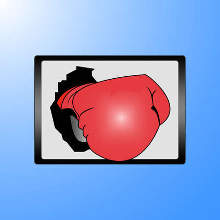 Businessman hand wearing boxing gloves on a laptop screen Stock Vector - 17690396