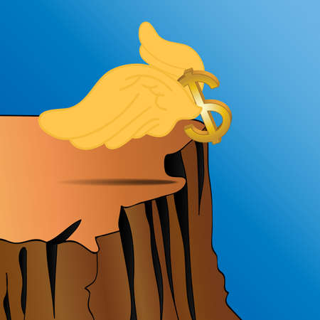 fiscal cliff: Dollar sign were flying over fiscal cliff.