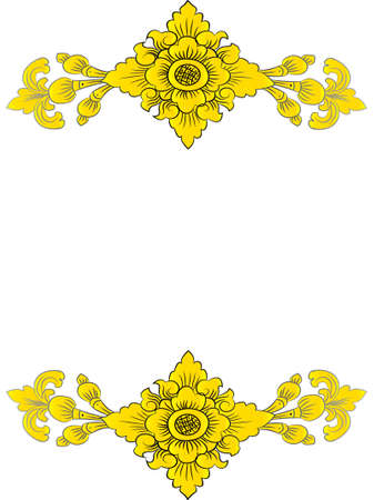 flower pattern in traditional Thai style art painting.EPS10 Vector