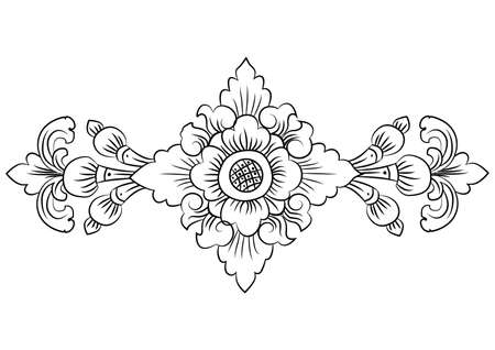 flower pattern in traditional Thai style art painting.