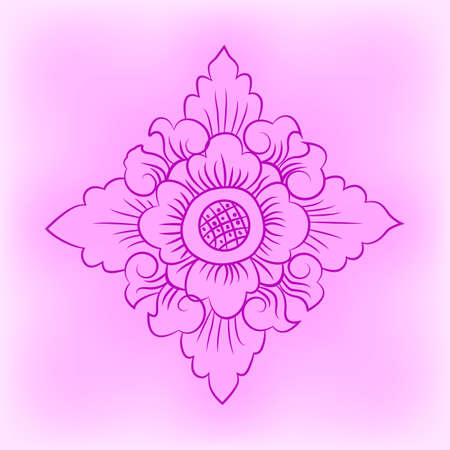 Pink flower pattern in traditional Thai style art painting. Vector