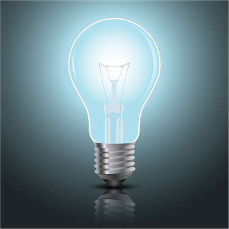 light bulb vector on blue background.