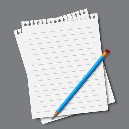 紙と鉛筆、ベクトル eps10 図  イラスト・ベクター素材