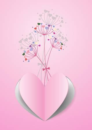 valentineday: Paper heart shape on flower background Illustration