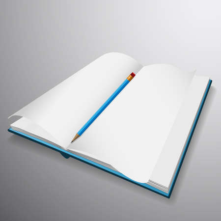 hard cover: Open book blue hard cover with blue pencil.EPS10 Stock Photo