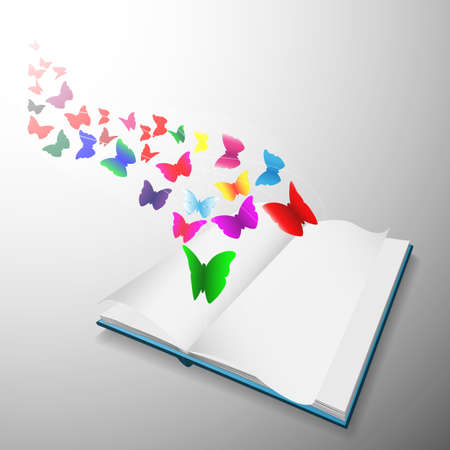 concept design, butterfly flying out from open book photo