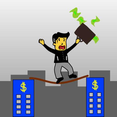 tightrope: Een zakenman saldi met een aktetas, wandelingen een hoge draad gespannen koord, boven de risico's en gevaar