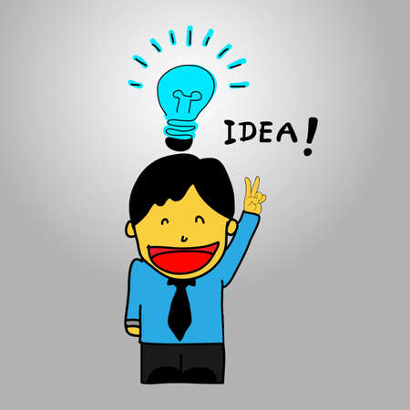 Business man with light bulb in speech bubble representing idea  Vector