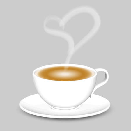 Coffee cup with heart shaped white smoke Happy valentine s day Vector